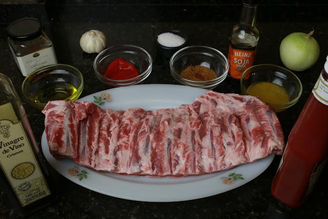 Ingredientes para costillas de cerdo al horno