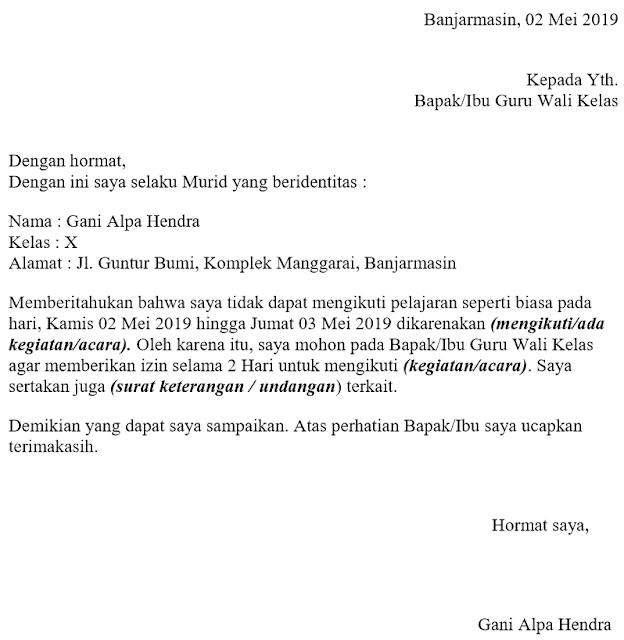 Surat Izin Tidak Masuk Sekolah Formal