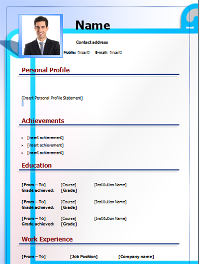 download cv form template editable on word word free blue - Download Cv Form