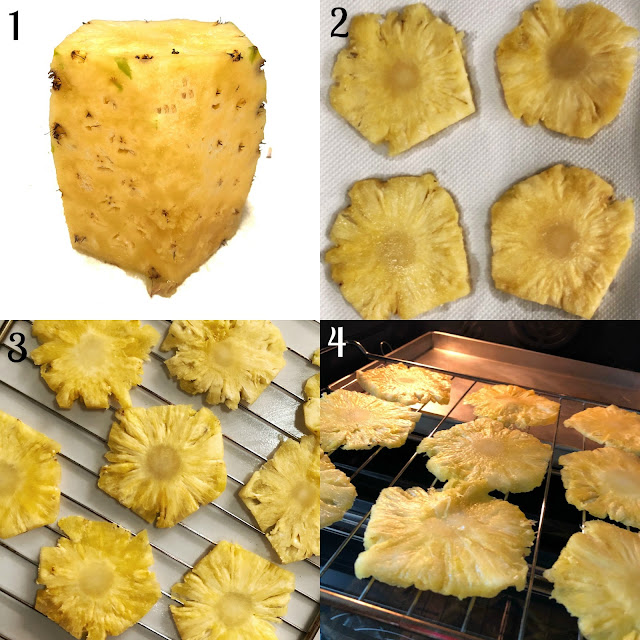 Steps to make dried pineapple flowers