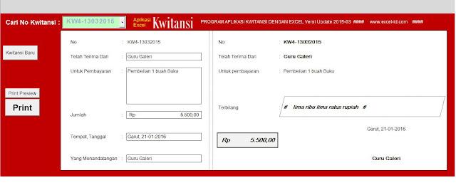Aplikasi Kwitansi Format Excel untuk Bendahara Keuangan Download Gratis