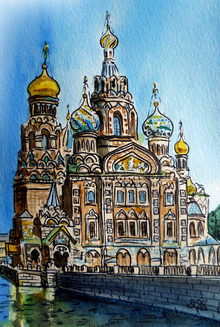 Irina Sztukowski watercolor artwork from travel series