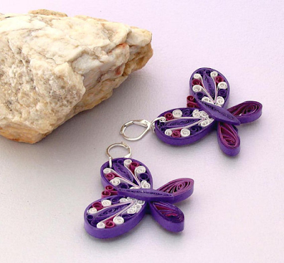 purple butterfly quilling earring designs for kids - quillingpaperdesigns