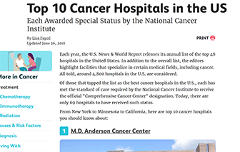 Top 10 cancer hospitals in US