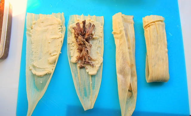 Filling Tamales for Pressure Cooking