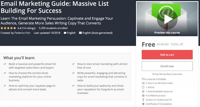 [100% Off] Email Marketing Guide: Massive List Building For Success  Worth 139,99$