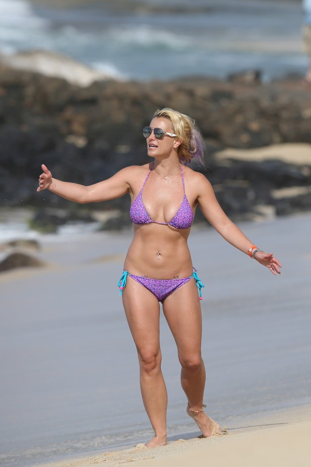 Britney Spears in a bikini on the beach
