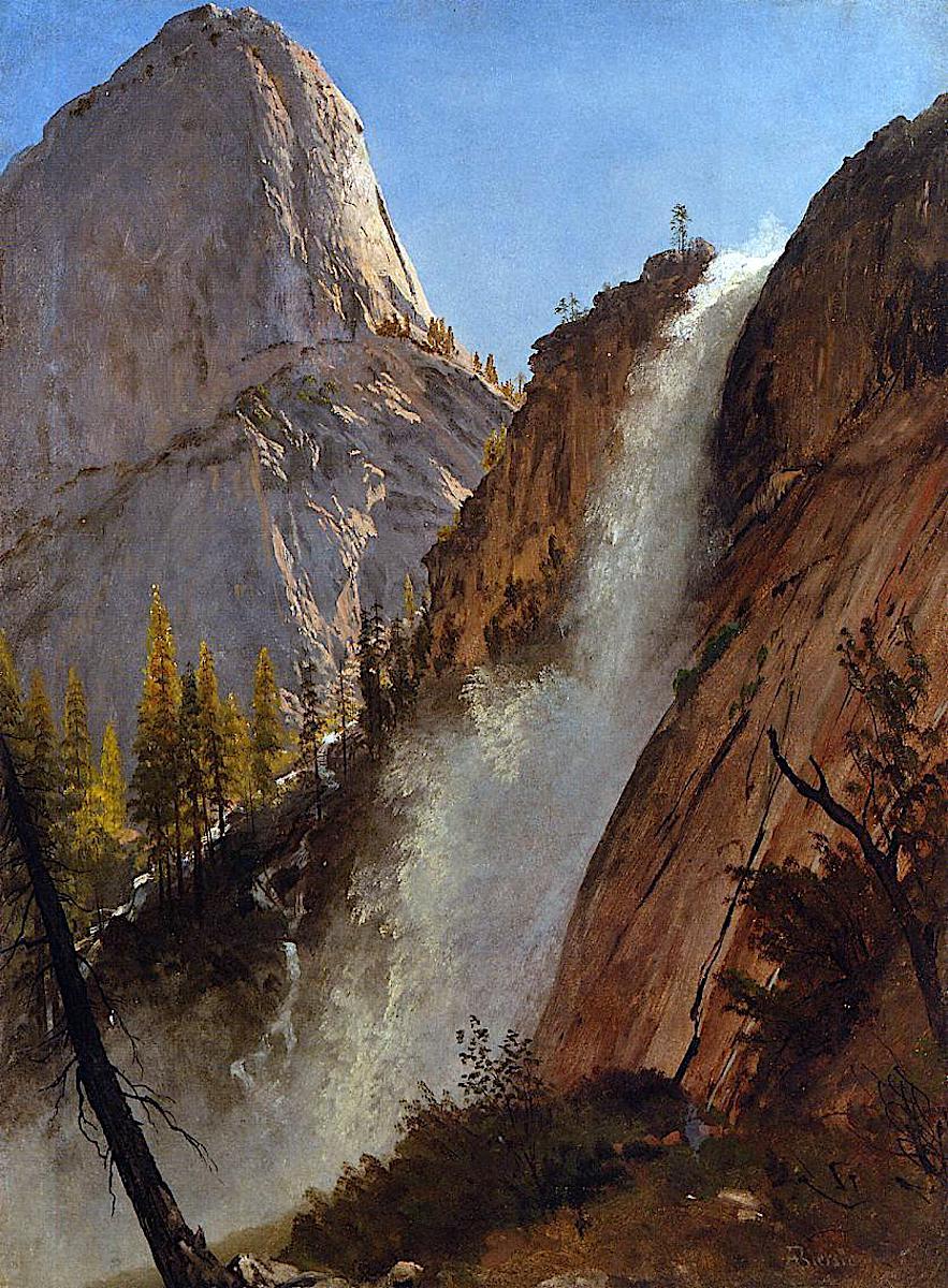 Albert Bierstadt waterfall, a color painting