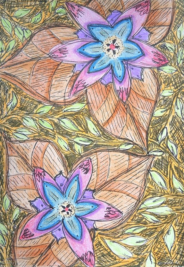 bloemen en blaadjes in zwarte stift