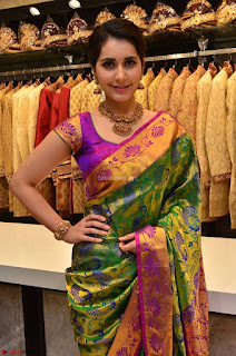 Raashi Khanna in colorful Saree looks stunning at inauguration of South India Shopping Mall at Madinaguda ~  Exclusive Celebrities Galleries 009