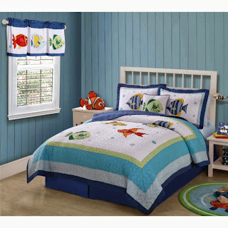 Pem America Colorful Sea Twin Quilt with Pillow Sham