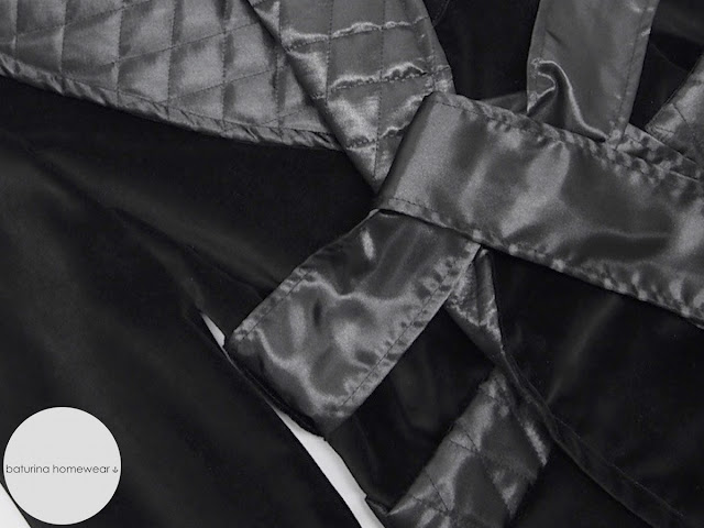 mens black velvet smoking jacket robe