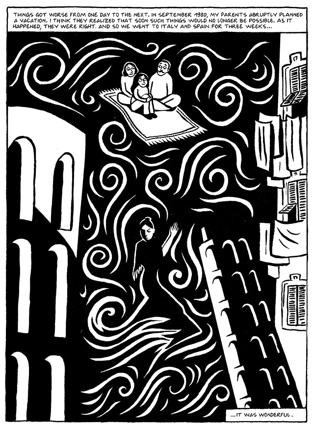 Read Chapter 10 - The Trip, page 75, from Marjane Satrapi's Persepolis 1 - The Story of a Childhood