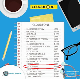 CloudFone Excite 501o SRP at Siena Mobile