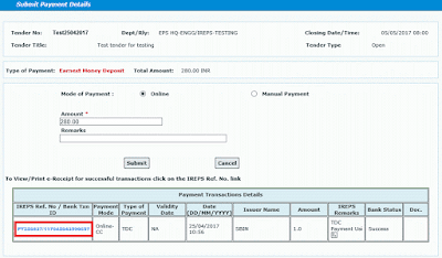 Works Tender TDC Payment Using Credit Card 10