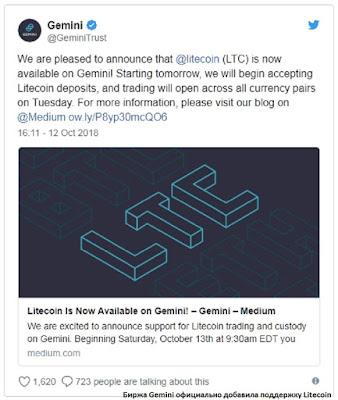 Биржа Gemini официально добавила поддержку Litecoin