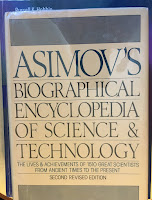 Asimov's Biographical Encyclopedia of Science and Technology, by Isaac Asimov, superimposed on Intermediate Physics for Medicine and BIology.