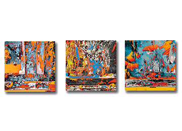 abstract art, urban abstract, large wall art, contemporary, modern, canvas art, triptych, artwork, artist, Sam Freek, multi coloured,