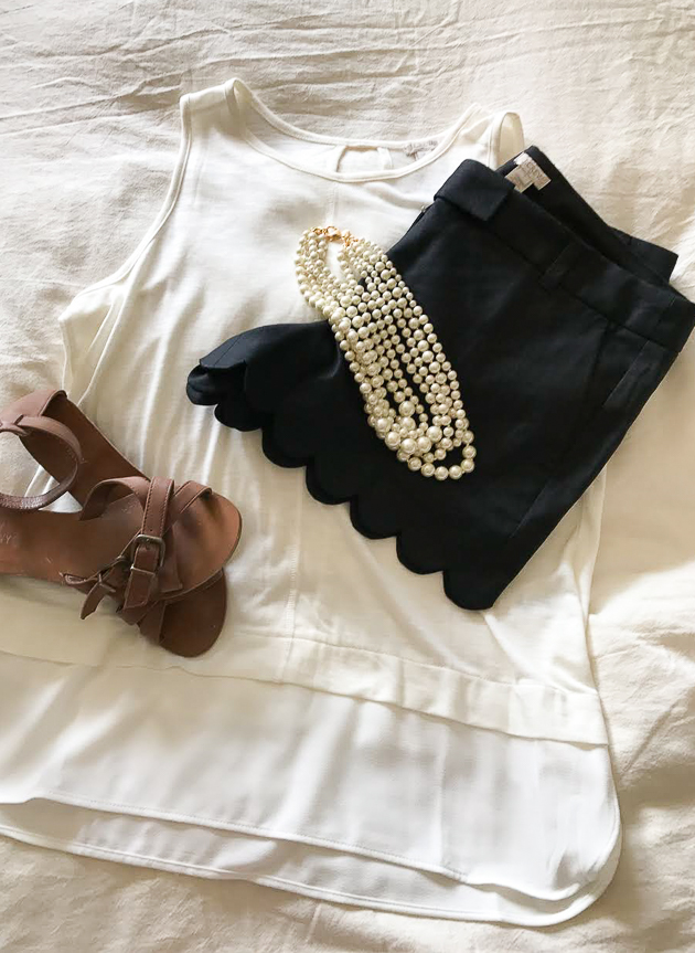 J.Crew Black scalloped shorts and white tank on sale.