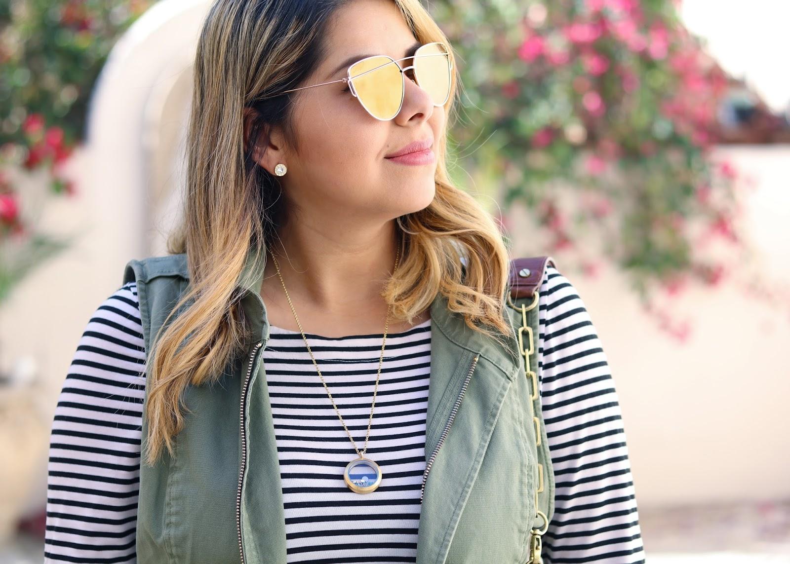 gold windsor sunglasses, origami owl necklace, origami owl blogger necklace