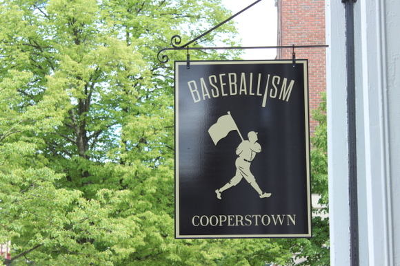 This baseball sign in Cooperstown is classic and vintage.