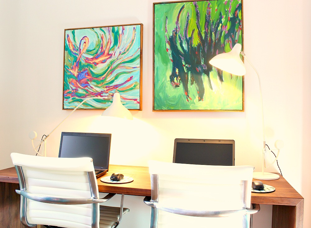 Colorful Mid-Century Modern Inspired Home Office Makeover