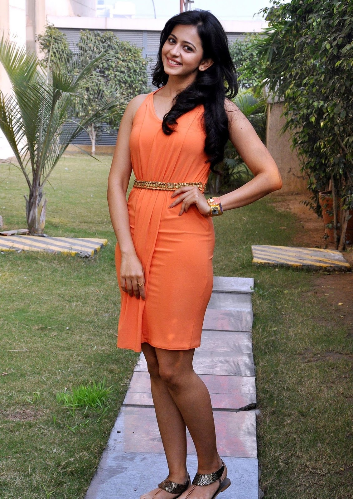 Tollywood Queen Rakul Preet Singh Spicy Thighs Legs Show In Orange Dress