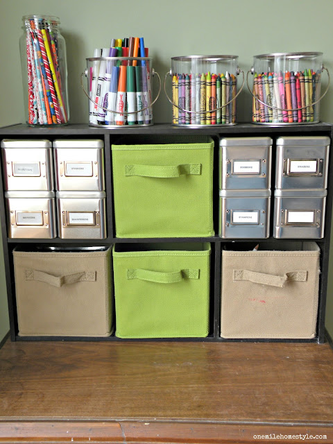 Kids art supply organizing hack - One Mile Home Style