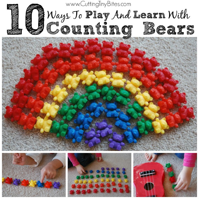 10 Ways to Play and Learn With Counting Bears. Simple, no-prep ideas for using counters with toddlers, preschoolers, or kindergartners.