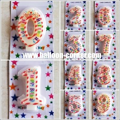 Lilin Ulang Tahun Angka Motif Happy Birthday