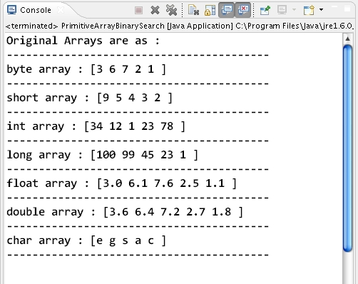 How to perform Binary Search for an element over primitive
