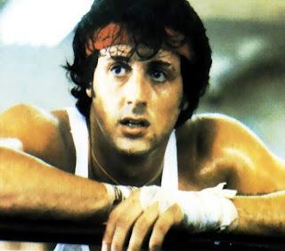 Imagen de la segunda parte de Rocky (1979) que muestra un primer plano de Sylvester Stallone