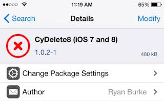 Cara Menghapus Aplikasi cydia di Iphone dan ipad Dengan Cydia tweaks Cydelete8