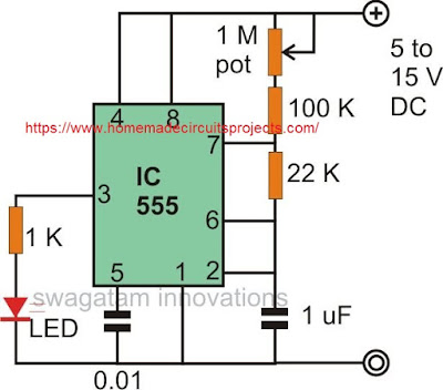 simple IC 555 LED flasher