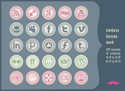 classic retro social icon set