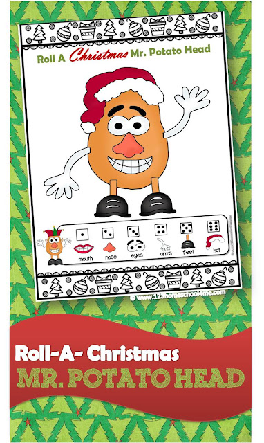 FREE Roll a Christmas Mr. Potato Head - this is such a fun Christmas games for family and kids of all ages. I love the clever educational twists you can do to play this Christmas game while practicing math, spelling words, geography, and more. Or use it as a silly minute to win it for children, Christmas parties, or Christmas activities. (preschool, for toddlers, kindergarten, first grade)