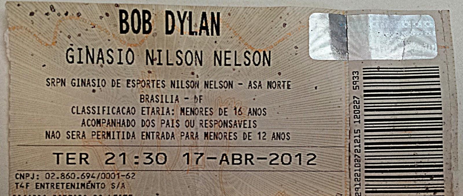 Ingresso para o show de Bob Dylan no Brasil