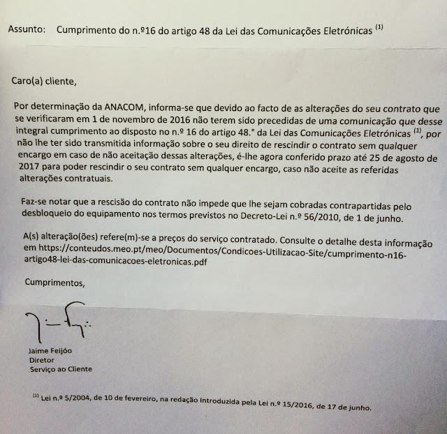 Carta Anacom Rescindir Contrato  Meo