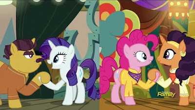 Coriander, Rarity, Pinkie and Saffron during the song