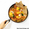 Baked eggs with baked beans