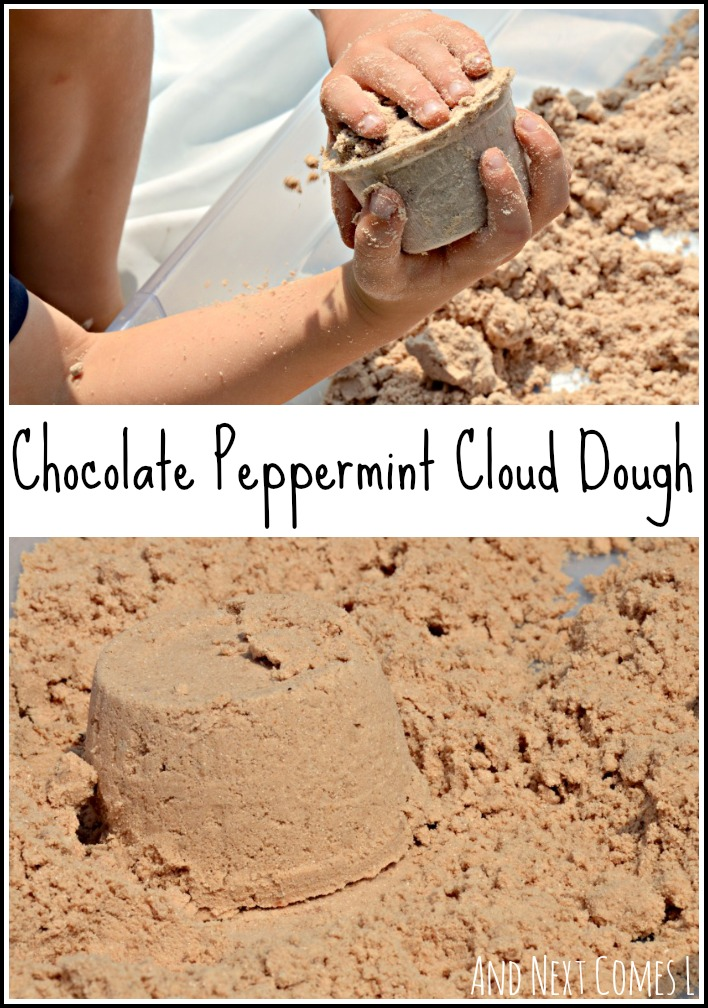 Chocolate peppermint cloud dough recipe for sensory play from And Next Comes L