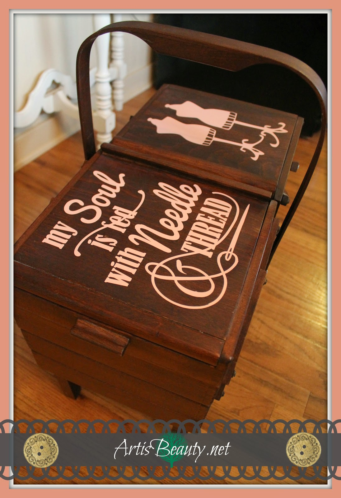 my soul is fed with needle and thread vintage accordian sewing box makeover silhouette vinyl cutting machine
