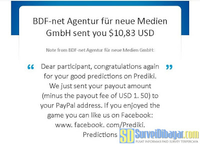 Notifikasi pembayaran Online Survey Prediki melalui PayPal | SurveiDibayar.com