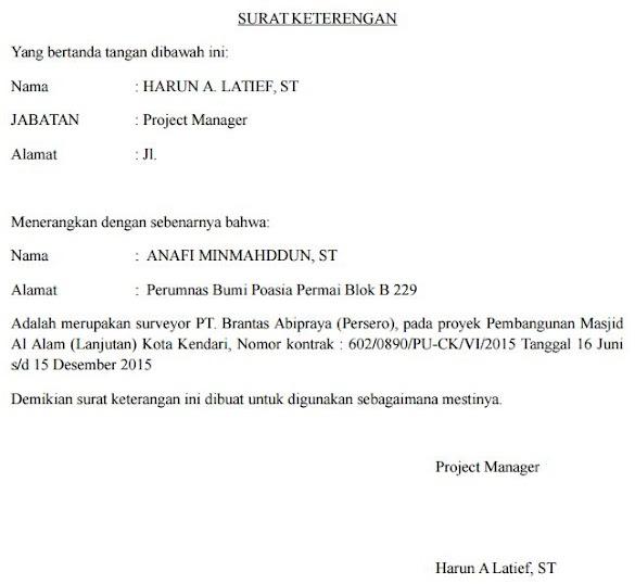 Contoh Surat Keterangan Surveyor Perusahaan Proyek Pembangunan
