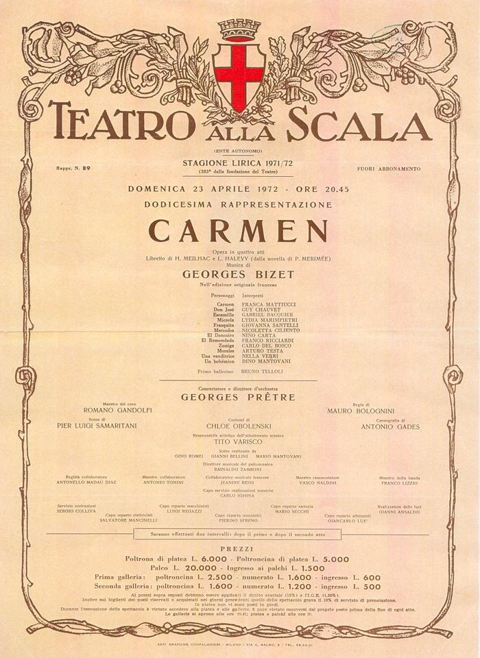 Opera Carmen alla Scala di Milano, 1972