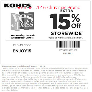 Kohls coupons for december 2016