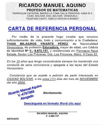 ejemplo carta referencia personal - Ecosia