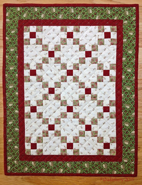 "Mini Irish Chain Quilt - Doll Quilt Swap - 16"" x 20.5"""