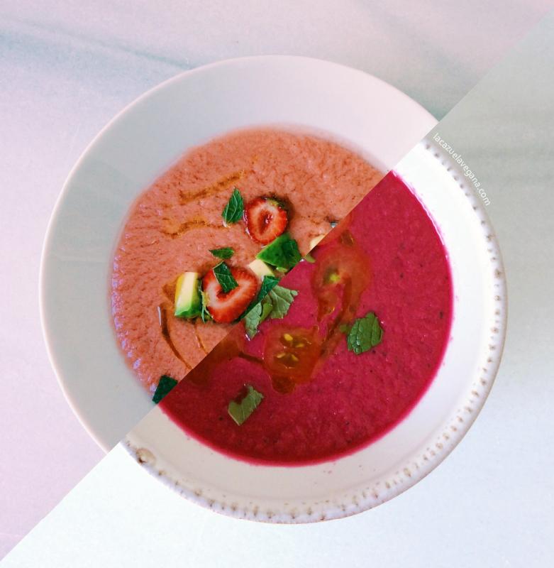 Gazpacho súper refrescante de fresitas, remolacha, tomate, hierbabuena y albahaca