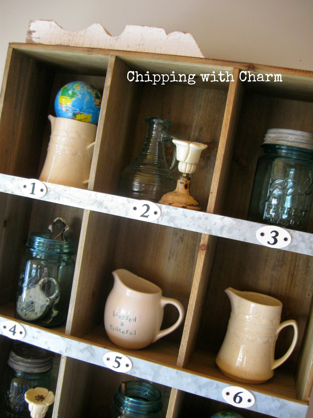 Chipping with Charm:  Spring Mantel, Numbered Cubby...www.chippingwithcharm.blogspot.com
